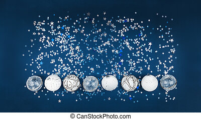 Christmas white baubles collection on blue glitter background