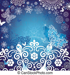 Christmas white-blue frame