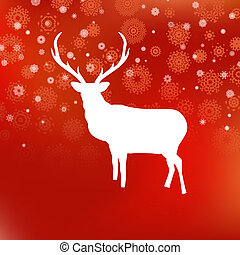 Christmas white deer on red background. EPS 8