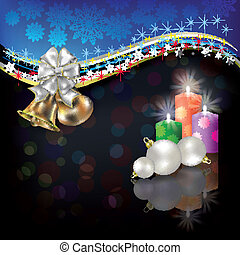 Christmas white greeting with bells and bow
