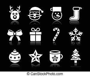 Christmas white icons with shadow