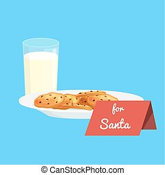 Christmas white milk in a glass with chocolate cookies on a plate and sign for Santa Claus, treats icon in the New Year's Eve vector illustration