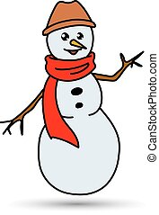Christmas White Snowman in a Hat and Scarf Isolated on Background, Merry Happy New Year, Vector Illustration