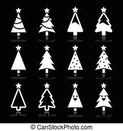 Christmas white tree vector icons