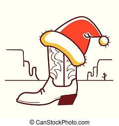 Christmas Wild West illustration with cowboy boot and Santa hat on American desert
