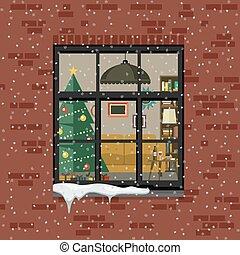Christmas window in brick wall.