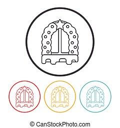 Christmas window line icon