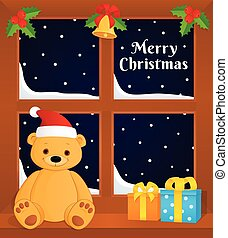 christmas window teddy bear
