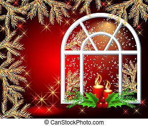 Christmas window with burning candles