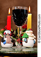 Christmas wine glass with Christmas figures