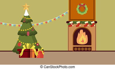 Christmas winter background animation collection