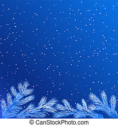 frozen tree branches - Christmas winter background with ...