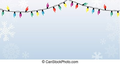 christmas winter background with snowflakes and colorful fairy lights