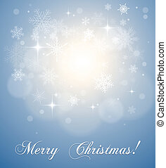 Christmas, winter background with snowflakes, vector.