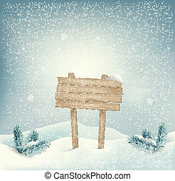 Christmas winter background with Wooden sign and landscape. Vector.
