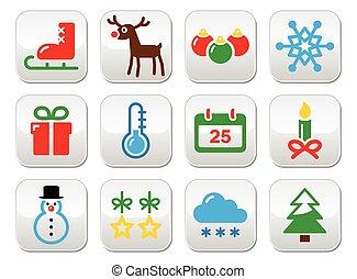 Christmas winter buttons set