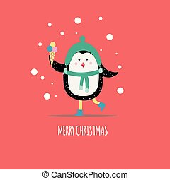 Christmas winter card with cute penguin holding ice cream flat vector illustration.