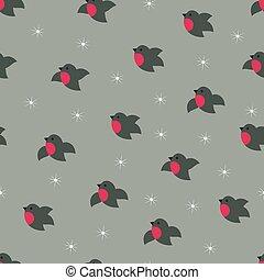 Christmas winter cute bullfinches seamless pattern