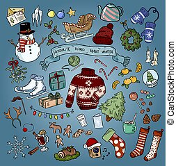 Christmas winter favourites colorful doodles. Vector illustration