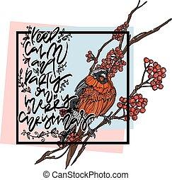 Christmas winter greeting card.
