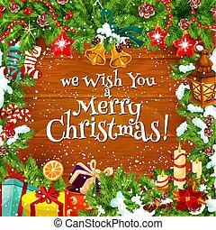 Christmas winter greeting card, vector