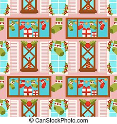 Christmas winter holiday gift stocking seamless pattern background vector New Year decoration house window greeting card design