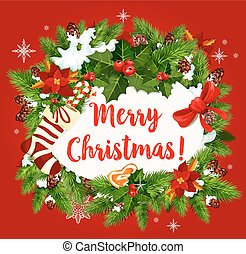 Christmas winter holiday wish vector greeting card