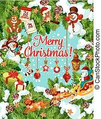 Christmas winter holidays vector greeting card