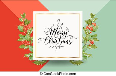 Christmas Winter Holly Berry Banner, Graphic Background, December Invitation, Flyer or Card  in Vector