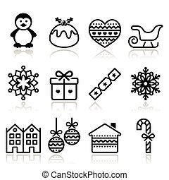 Christmas, winter icons with stroke