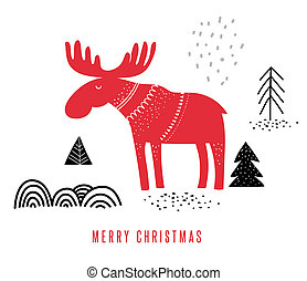 Christmas, Winter illustration with moose, hand drawn in Scandinavian style greeting card