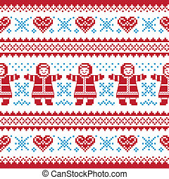 Christmas, Winter knitted pattern,