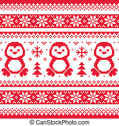 Christmas, winter knitted pattern