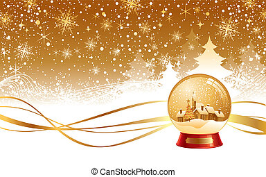 Christmas winter landscape and snow globe - vector illustration