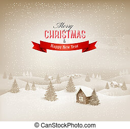 Christmas winter landscape background. Vector.