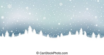 Christmas Winter Landscape With Snowflake