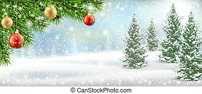 Christmas winter landscspe pine tree snow
