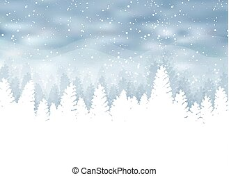 Christmas winter on blue background. White snow with snowflakes on silver bright light. Christmas tree.