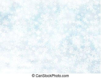 Christmas winter on blue background. White snow with snowflakes on silver bright light.