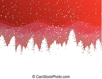 Christmas winter on red background. White snow with snowflakes on silver bright light. Christmas tree.