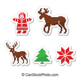 Christmas winter pixelated icons