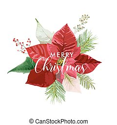 Christmas Winter Poinsettia Flower Card or Background with place for your text in vector