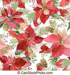 Christmas Winter Poinsettia Flowers Seamless Background,...