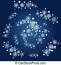 Christmas, winter round frame of snowflakes on a blue background, blizzard,
