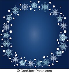 Christmas, winter round frame of snowflakes on a blue background