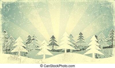 christmas winter scene grunge loop