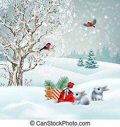 Christmas winter scene. Vector snowy landscape. Frosty tree...
