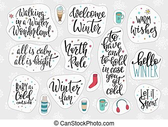 Christmas winter season lettering typography set