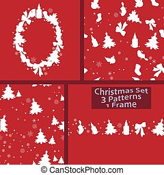 Christmas Winter Set of 1 frame and 3 Seamless Patterns