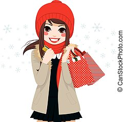 Christmas Winter Shopping Girl - Beautiful brunette girl...